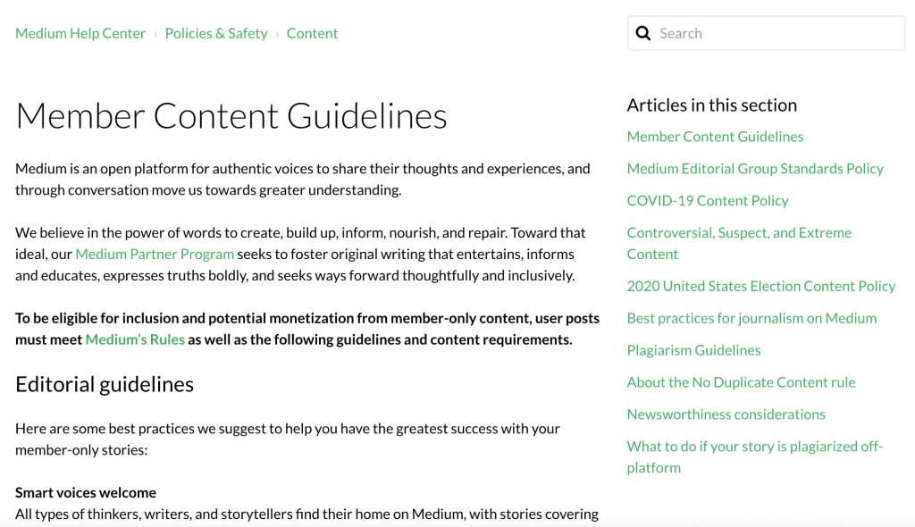Screenshot of Medium's styleguide example.