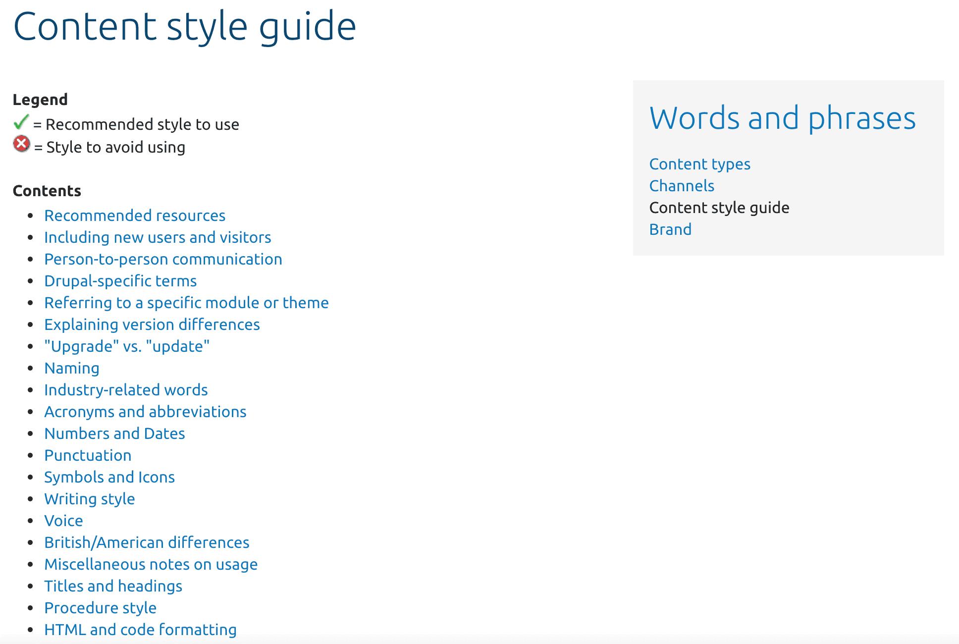 Screenshot of Drupal's styleguide example.