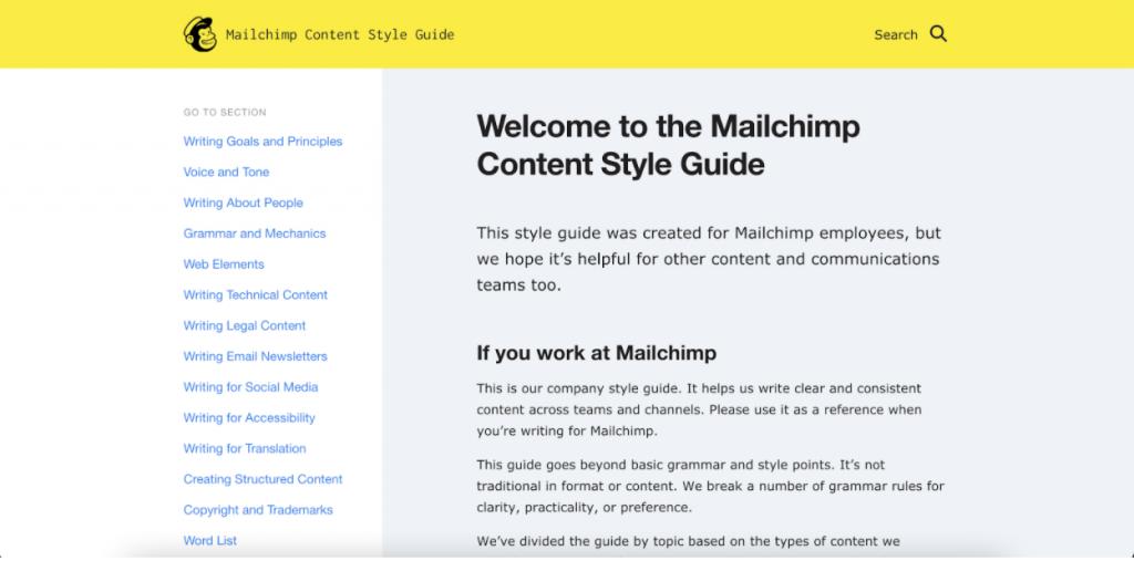 Mailchip styleguide