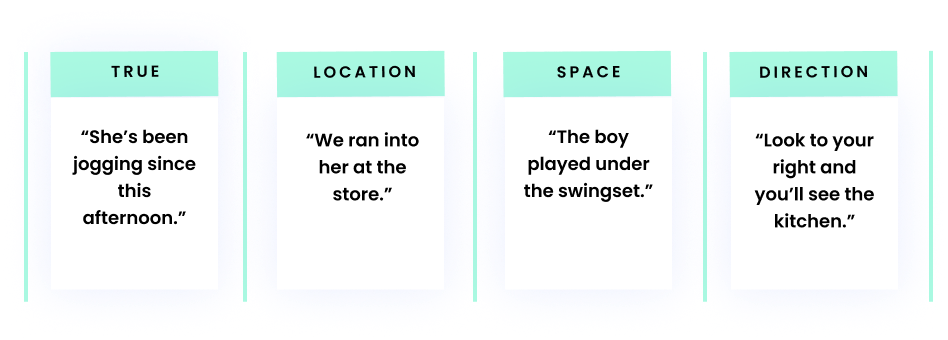 """Time: """"She's been jogging since this afternoon."""" Location: """"We ran into her at the store."""" Space: """"The boy played under the swingset."""" Direction: """"Look to your right and you'll see the kitchen."""""""