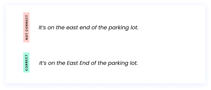 Correct: It's on the east end of the parking lot. Incorrect: It's on the East End of the parking lot.