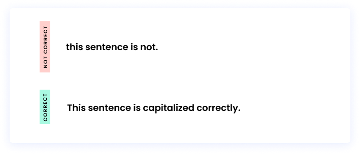 Correct: This sentence is capitalized correctly. Incorrect: this sentence is not.