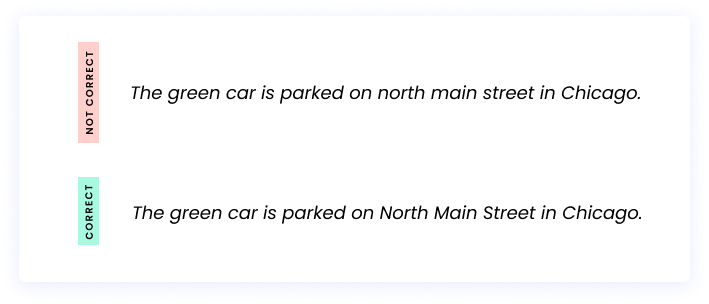 Correct: The green car is parked on North Main Street in Chicago. Incorrect: The green car is parked on north main street in Chicago.