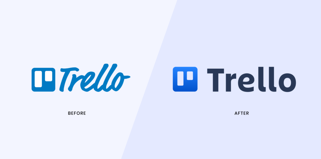 To preserve brand recognition, trello decided to make subtle changes to their logo with a major update to the typography