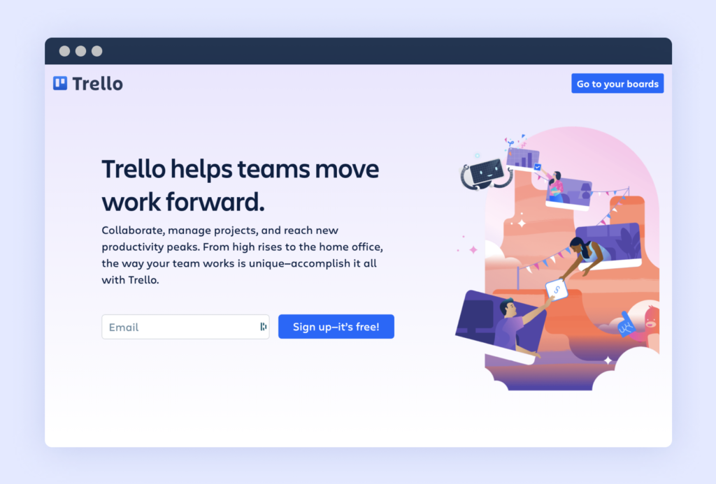 Trello's updated 2021 home page, with a refreshed look and team-centric messaging that highlights work projects and productivity (Source).