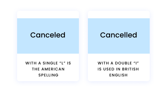 """Canceled with a single """"l"""" is the American spelling. Cancelled with a double """"I"""" is used in British English."""