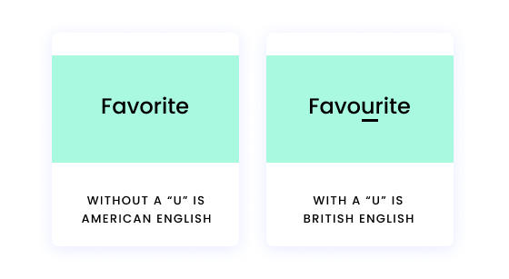 """Favorite without a """"u"""" is American English. Favourite with a """"u"""" is British English."""